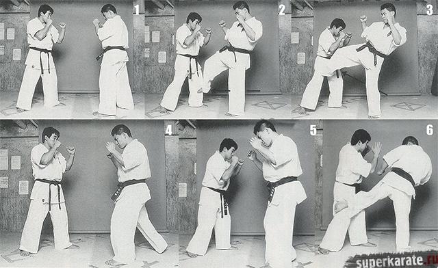 Атака лоу-кик в киокушинкай каратэ, в исполнении Хироки Куросава