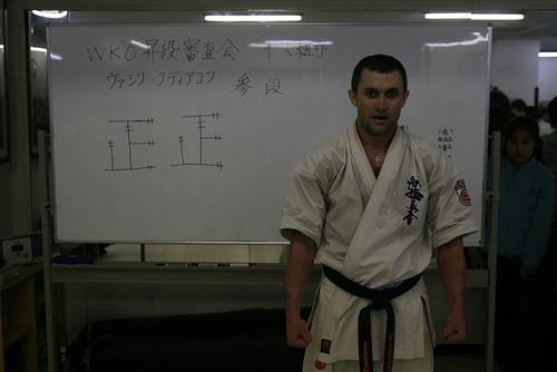 Сэнсей Василий Худяков с результатами экзаменационных боев